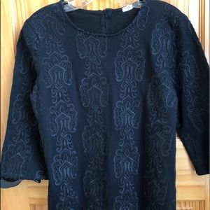 J Crew Crochet Front Button Back Tee Size Med
